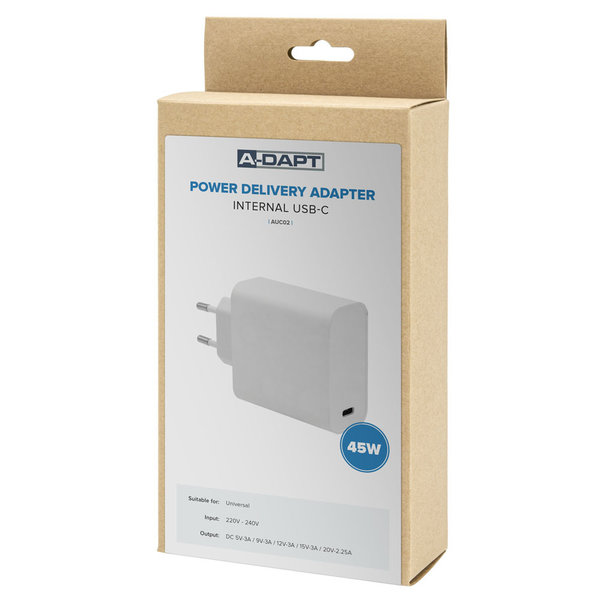 A-Dapt Thuislader Power Delivery USB-C 45W wit